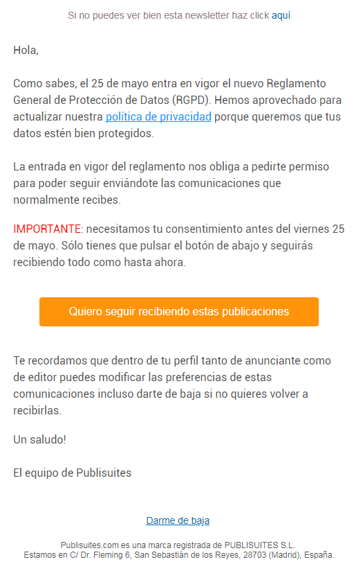 normativa RGPD email marketing Publisites-email